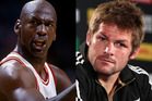 Michael Jordan (L) and Richie McCaw. Photo / Getty Images.