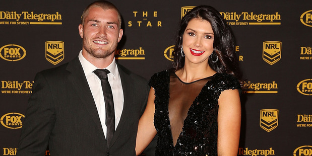 Kieran Foran and former partner Rebecca Pope at the 2013 Dally M Awards. Photo / Getty