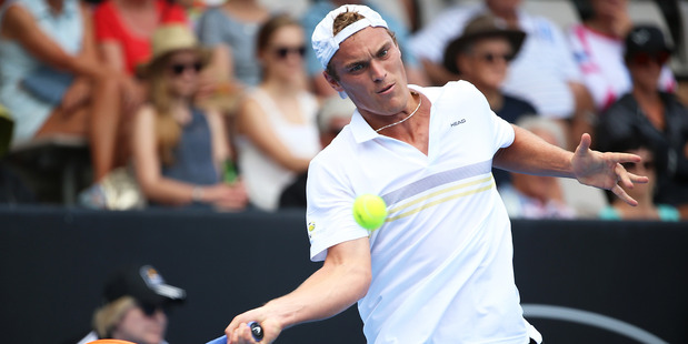 New Zealand wildcard Finn Tearney during the ASB Classic. Photo / Getty Images