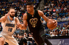 Giannis Antetokounmpo drives to the basket against the Orlando Magic. Photo / Getty Images
