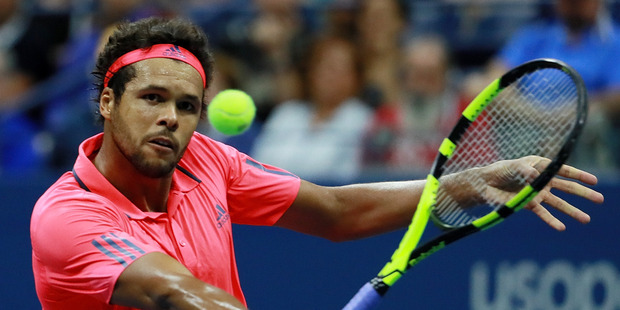 Jo-Wilfried Tsonga returns a shot during the US Open. Photo / Getty Images