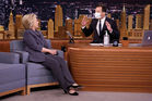 Jimmy Fallon took no chances when interviewing Democratic presidential candidate Hillary Clinton. Photo / Getty