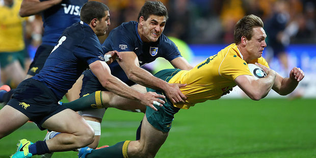 Dane Haylett-Petty of the Wallabies scores a try. Photo / Getty