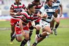 Vince Aso is chased by Sherwin Stowers during the round five Mitre 10 Cup match. Photo / Getty Images