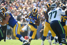 Todd Gurley cuts through the hole during the game against the Seattle Seahawks. Photo / Getty Images