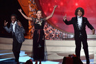 Actors Caleb McLaughlin, Millie Bobby Brown and Gaten Matarazzo perform onstage during the Emmy Awards. Photo / Getty Images