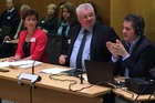 The Human Rights Commission's chief legal adviser Janet Anderson-Bidois, Chief Commissioner David Rutherford, and Disabilities Commissioner Paul Gibson appear before the Health Committee at Parliament this morning. Picture: Isaac Davison
