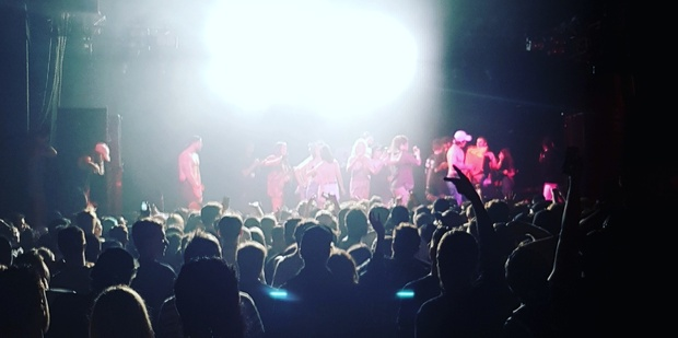 Fans rush the stage after A$AP Ferg's performance at the Powerstation.