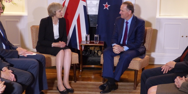 John Key meets with new British Prime Minister Theresa May at the United Nations. Photo / Audrey Young