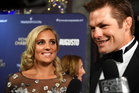 Gemma Flynn and Richie McCaw on the red carpet at the Chasing Great Movie Premier. Photo: Andrew Cornaga / Photosport