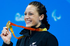 New Zealand's Sophie Pascoe with her gold medal after winning the Womens 200m Individual Medley SM10 Swimming at the Rio Paralympics. Photo / Photosport.co.nz