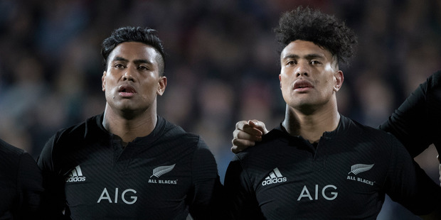 Loading All Blacks brothers Julian and Ardie Savea during the national anthem, during the Rugby Championship test match between New Zealand and South Africa. Photo / Brett Phibbs.
