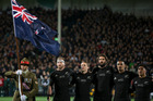 All Blacks sing the national anthem during the Rugby Championship test match between New Zealand and South Africa. Photo / Brett Phibbs