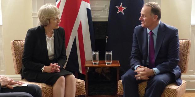 John Key meets British Prime Minister Theresa. Photo / Audrey Young