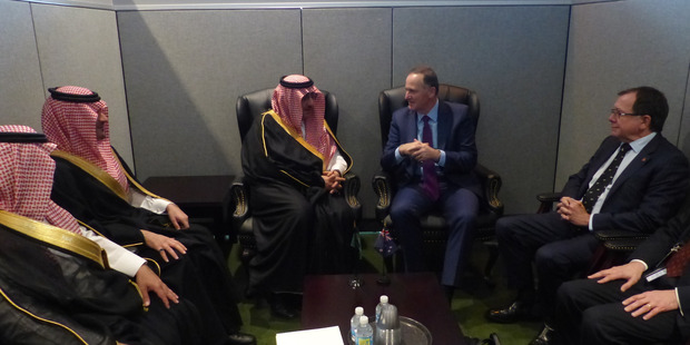 Saudi Deputy Prime Minister Mohammad bin Salman Al Saud talks trade with John Key at the UN in New York. Photo / Audrey Young