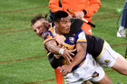 COMMITTED: Bay of Plenty's Monty Ioane keeps the ball alive against Wellington last Friday. PHOTO/photosport