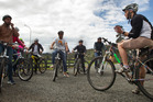 Waiariki BOP Polytechnic students set to head of for a ride around Springfield on bicycles. Photo/Stephen Parker
