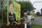 A billboard for Howick local board candidate Rosa Chow was vandalised with