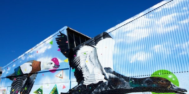 Mating for Life, Charles & Janine Williams' giant mural, at 358 North Rd, is one of a growing number of street artworks in Kingsland and Morningside.