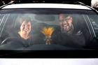 Kiri Wilson and Jay Rerekura of Yeah Hard have produced a local version of Carpool Karaoke to profile Whanganui mayoral candidates. PHOTO/BEVAN CONLEY