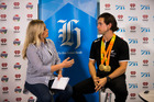 Rio Paralympics Gold Medal champ, Blade Runner Liam Malone visiting NZME Central and chatting with Laura McGoldrick. Photo / Dean Purcell