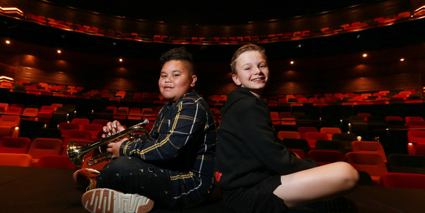 Patrick Mafileo, a performer with Southern Steel with Harry Sills from Billy Elliot The Musical at today's theatre opening. Photo/Doug Sherring