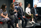 Social Media Club held tonight featured a mayoral line up with candidates Victoria Crone, Mark Thomas, Chloe Swarbrick and Phil Goff. Photo / Nick Reed