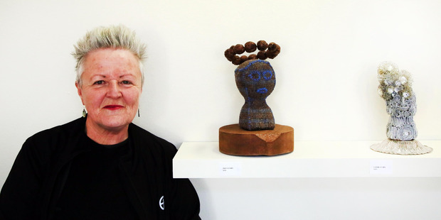 Lauren Joan Lysaght with her pieces Pious Lumps and Cosmic Lumps. PHOTO/STUART MUNRO