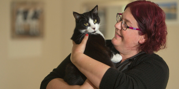 Loading CATS: Katie Hickey, pictured with her cat Bugsy, thinks cats should be microchipped and desexed. PHOTO/BEN FRASER