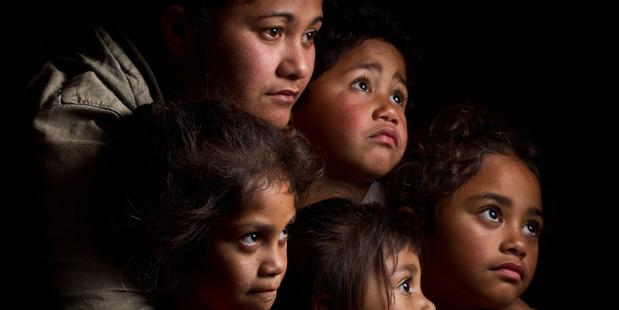 Sylvia and  children. From left, Hera-Huhana, 6, Eria, 3, Rikirangi, 4, and Te Waikohai, 7.are among 11 people living in a three-bedroom house. Photo/ Stephen Parker