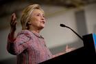 Hillary Clinton speaks at a rally at University of North Carolina, in Greensboro. Photo / AP
