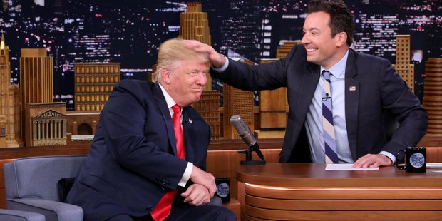 Republican presidential candidate Donald Trump had his famous 'do ruffled when he appeared on Jimmy Fallon's show. Photo / NBC