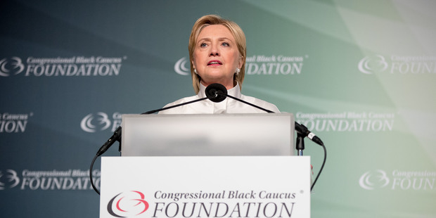 Democratic presidential candidate Hillary Clinton speaks at the Congressional Black Caucus Foundation's Phoenix Awards Dinner. Photo / AP