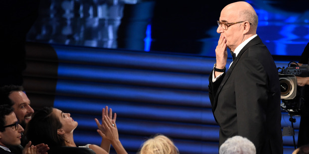 Jeffrey Tambor reacts after winning the award for outstanding lead actor in a comedy series at the Emmy Awards. Photo / AP