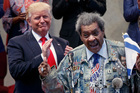 Former boxing promoter Don King let loose when he took to the stage to introduce Trump in Ohio. Photo / AP