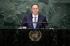 New Zealand Prime Minister John Key speaks during the 71st session of the United Nations General Assembly. Photo / AP