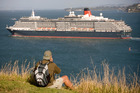 Cunard's Queen Victoria leaves Auckland during her maiden voyage around the world in 2008. Photo / NZ Herald