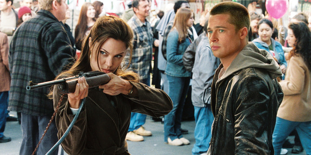 Angelina Jolie and Brad Pitt in a scene from the film Mr and Mrs Smith.