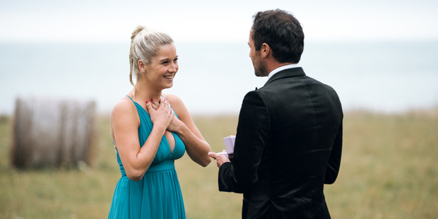 Jordan Mauger accepts Fleur Verhoeven in the final episode of the Bachelor. Photo / Supplied