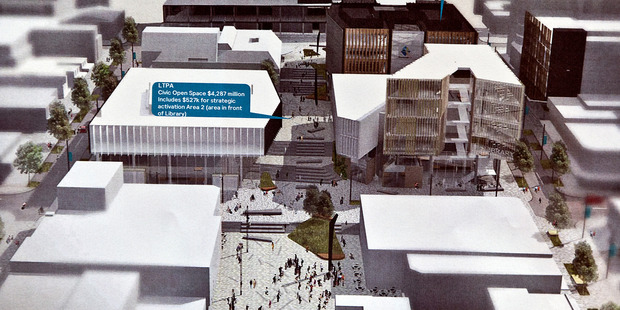 Visualisation of Tauranga's proposed Civic Heart redevelopment, with the multi-purpose performance venue located to the left of the main set of steps, in front of present-day Baycourt.  Photo/File