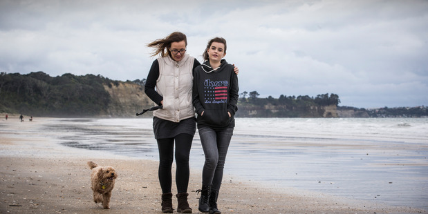 Alexandra Constantine with her daughter Imogen Constantine, 15, who has received a liver transplant from an anonymous donor. A new law will provide compensation for donors. NZH photo Greg Bowker.