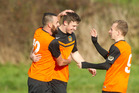 SCORCHER: Mitch Miller (centre) topped 50 goals for the season as Ngongotaha finished their WaiBOP Premiership season with a 3-3 draw at Matamata on Saturday.