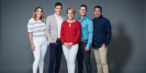 The new TVNZ Breakfast Lineup: Brodie Kane, Jack Tame, Hilary Barry, Sam Wallace and Daniel Faitaua. Photo / Supplied
