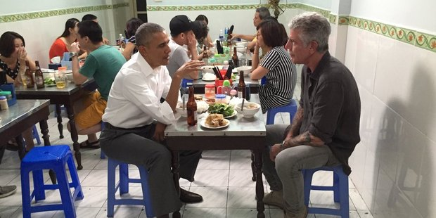 Photo posted to Twitter by Anthony Bourdain, showing him eating noodles in Hanoi with President Obama Photo / Anthony Bourdain/@Bourdain