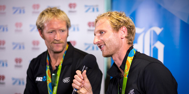 New Zealand olympic gold medalists Eric Murray and Hamish Bond at NZME Central to launch their book The Kiwi Pair. Photo /  Dean Purcell.
