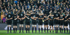 The All Blacks lined-up for the anthems before defeating the Wallabies. Photo / Mark Mitchell