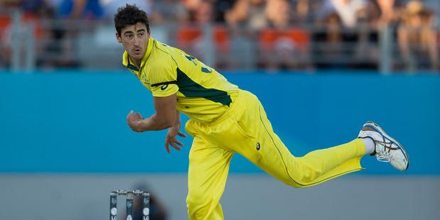 Australian fast bowler Mitchell Starc required 30 stitches after a freak fielding accident at training last week. Photo / NZ Herald Brett Phibbs.