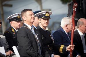 Tauranga Mayor Stuart Crosby and Commander Simon Griffiths. HMNZS Te Mana Charter Parade honouring the enduring relationship between Tauranga and the Royal New Zealand Navy. Photo/Andrew Warner