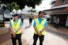 KEEPING THE PEACE: City Safe officers Gail Lewis and Hoki Witute on patrol in Whangarei's Cameron St Mall. PHOTO/ JOHN STONE