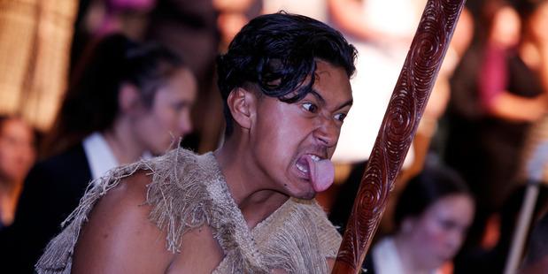 Ruia Iteli from Kaitaia College during the Nga Manu Korero powhiri. PHOTO/MICHAEL CUNNINGHAM